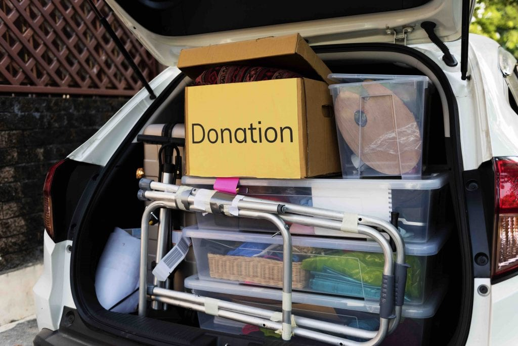 Donations in back of car